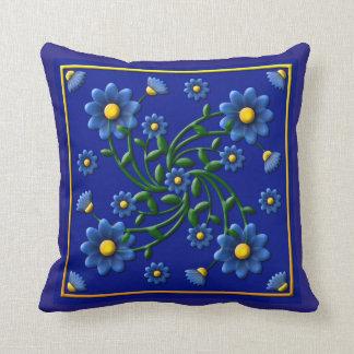 Miosótis (gravado com azul) travesseiros de decoração