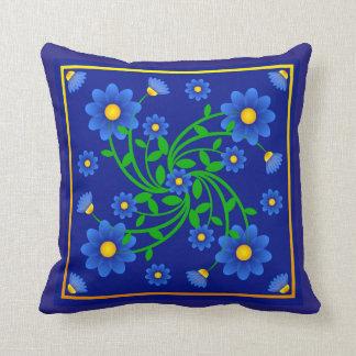 Miosótis (liso com azul) travesseiro de decoração