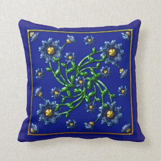 Miosótis (metálico com azul) travesseiros de decoração