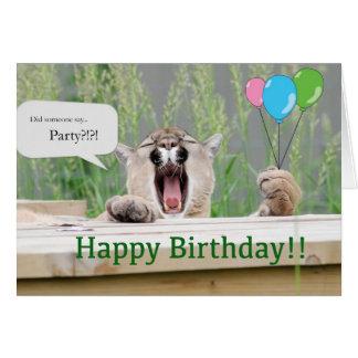 Misha - cartão de aniversário do puma