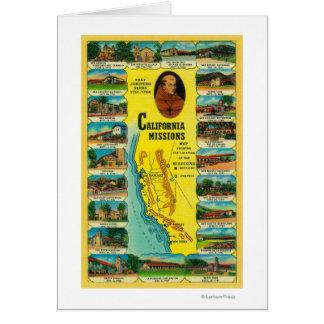 Missões espanholas da exibição de Califórnia Cartao