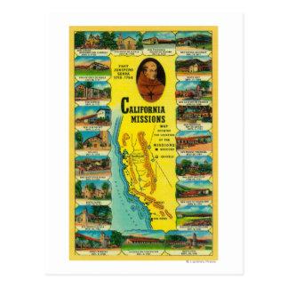 Missões espanholas da exibição de Califórnia Cartão Postal