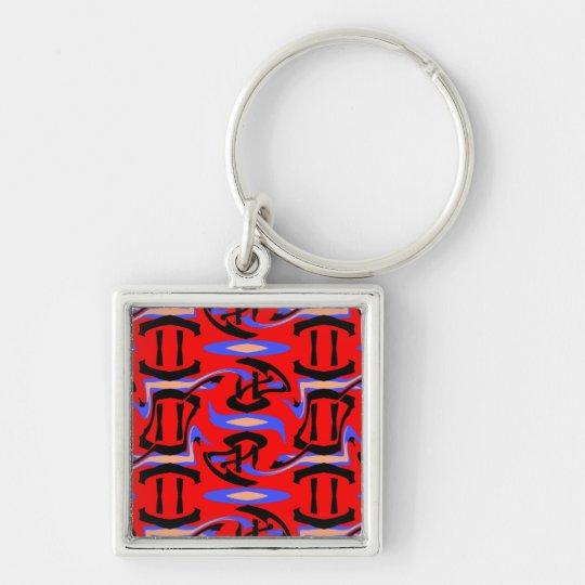 Mistura nativa vermelha festiva da arte do indiano chaveiro quadrado na cor prata