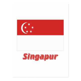 Mit Namen de Singapur Flagge Cartão Postal