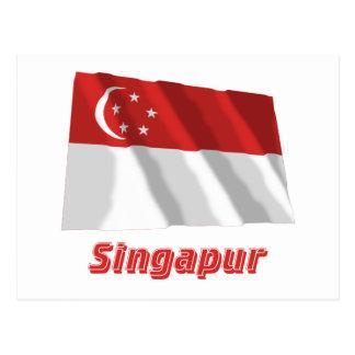 Mit Namen de Singapur Fliegende Flagge Cartões Postais