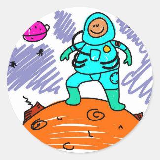 Miúdo do astronauta adesivos redondos