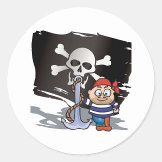 Miúdo do pirata adesivos redondos