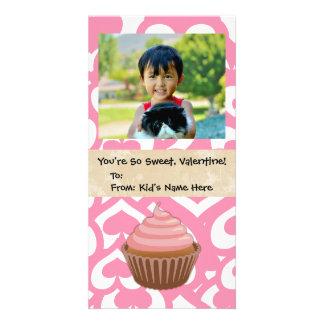 Miúdo doce do cupcake dos namorados cartoes com fotos personalizados