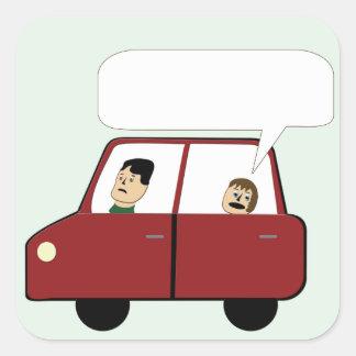 Miúdo em desenhos animados do carro adesivo quadrado