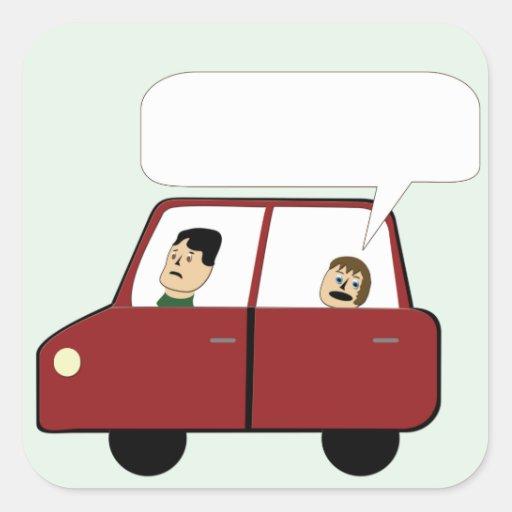 Miúdo em desenhos animados do carro adesivos quadrados