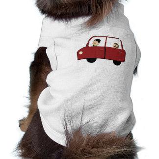 Miúdo em desenhos animados do carro camisa sem mangas para cachorro