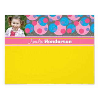 Miúdos cor-de-rosa dos círculos borbulhantes (R) Convite Personalizados