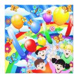 Miúdos das crianças do feliz aniversario impressão de canvas esticada