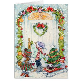 Miúdos de Caroling Cartão Comemorativo
