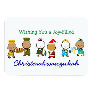 Miúdos do feriado de Christmakwanzukah Convite 8.89 X 12.7cm