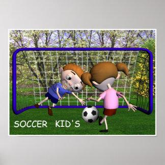 Miúdos do futebol que jogam o poster pôster