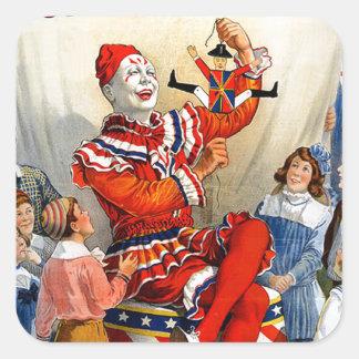 Miúdos do poster do circo do palhaço dos irmãos de adesivo quadrado