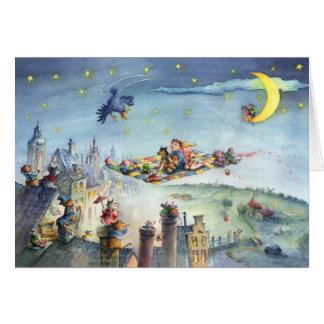 Miúdos do tapete de vôo - cartão da ilustração