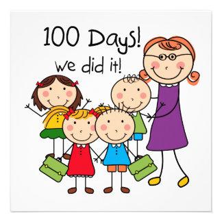 Miúdos e professor fêmea 100 dias convites personalizado