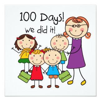 Miúdos e professor fêmea 100 dias convite quadrado 13.35 x 13.35cm