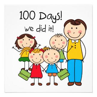 Miúdos e professor masculino 100 dias convites