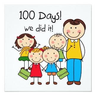 Miúdos e professor masculino 100 dias convite quadrado 13.35 x 13.35cm