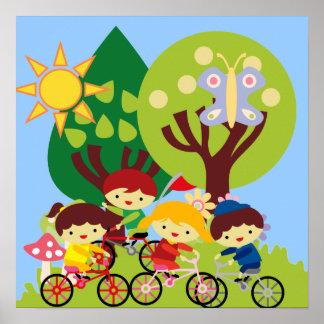 Miúdos em bicicletas poster