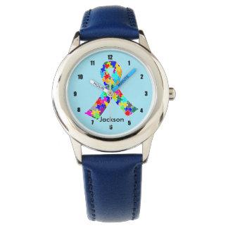Miúdos feitos sob encomenda azuis da fita do relógios de pulso