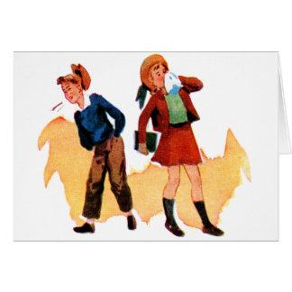 Miúdos retros da escola do kitsch do vintage que cartão comemorativo