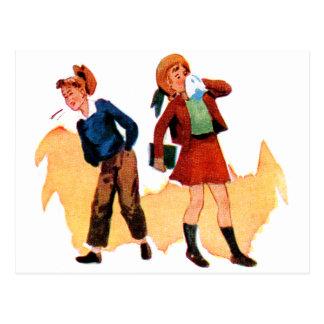 Miúdos retros da escola do kitsch do vintage que cartão postal