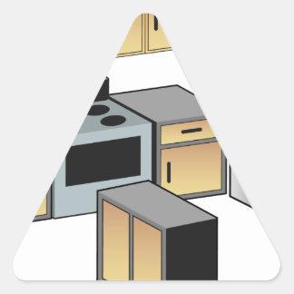 Mobília e dispositivos da cozinha adesivo triangular