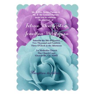 Modelo 1 do casamento do rosa do azul e do roxo de convite 12.7 x 17.78cm