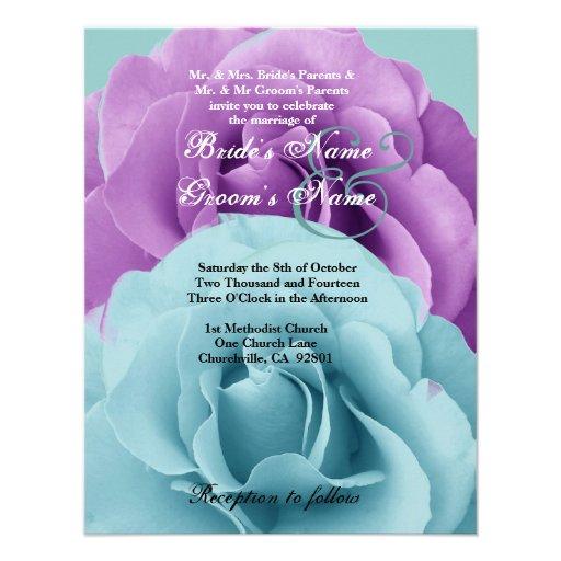 Modelo 2 do casamento do rosa do azul e do roxo de convite personalizados