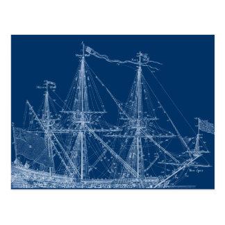 Modelo alto azul do navio de navigação cartão postal