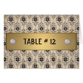 Modelo amarelo do número da mesa do damasco cartão