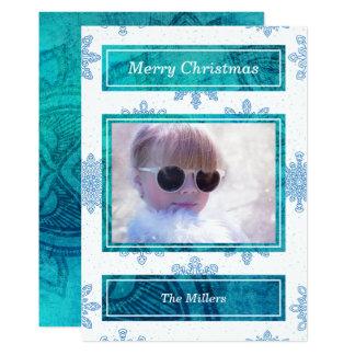 Modelo azul branco do cartão com fotos dos flocos convite 12.7 x 17.78cm