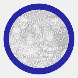 Modelo azul da etiqueta da foto adesivo em formato redondo