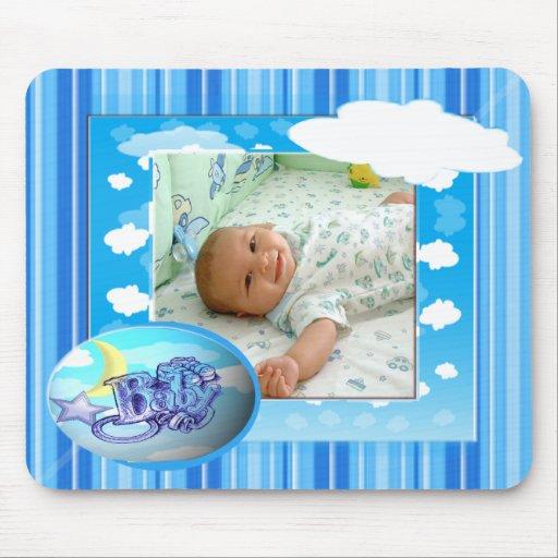 Modelo azul da foto das nuvens & das listras do be mousepad
