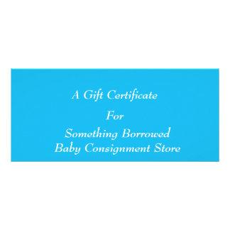 Modelo azul do certificado de presente da festa na 10.16 x 22.86cm panfleto