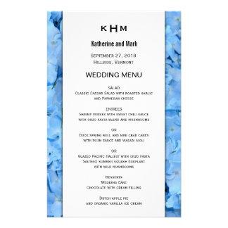 Modelo azul do menu do casamento do Hydrangea do Flyer 13.97 X 21.59cm