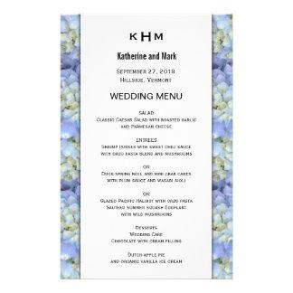 Modelo azul do menu do casamento do monograma do