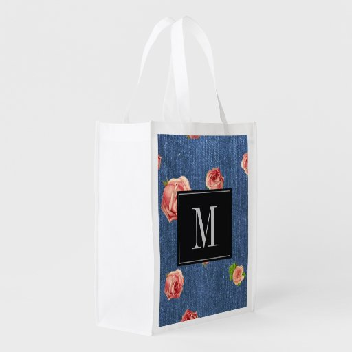Modelo azul floral do monograma da sarja de Nimes Sacolas Ecológicas Para Supermercado