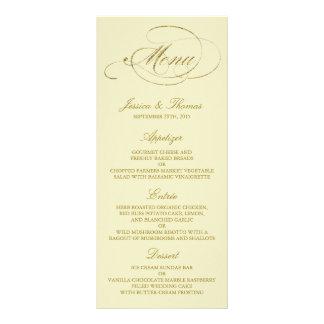 Modelo chique do menu do casamento da folha de 10.16 x 22.86cm panfleto