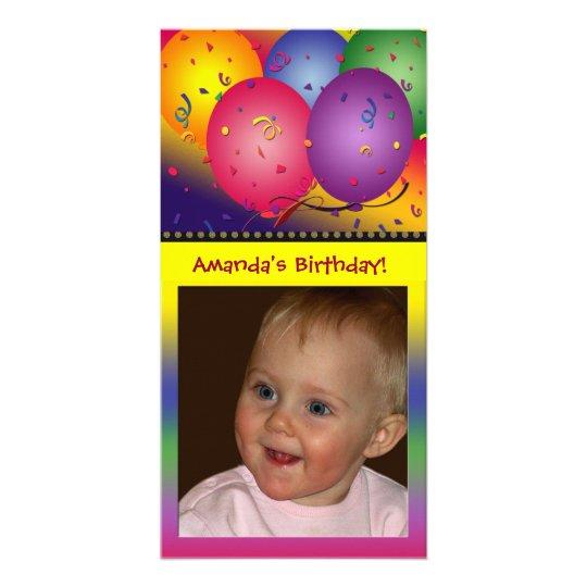 Modelo colorido do cartão com fotos do balão do an cartão com foto