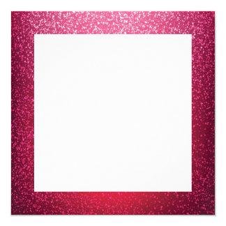 Modelo cor-de-rosa da beira do brilho convite quadrado 13.35 x 13.35cm
