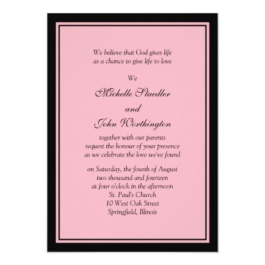 Modelo cor-de-rosa & preto simples do convite do
