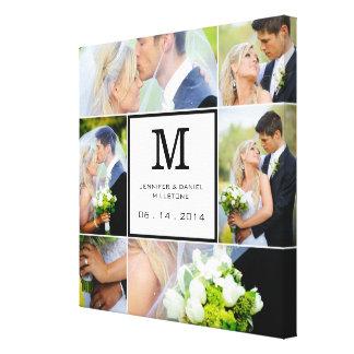 Modelo da colagem da foto do casamento com monogra impressão em tela