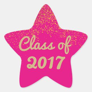 Modelo da etiqueta da graduação da estrela do rosa