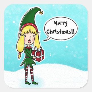 Modelo da etiqueta do Feliz Natal do duende do