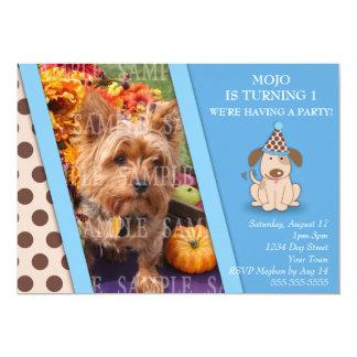 Modelo da foto do partido do filhote de cachorro convite 12.7 x 17.78cm